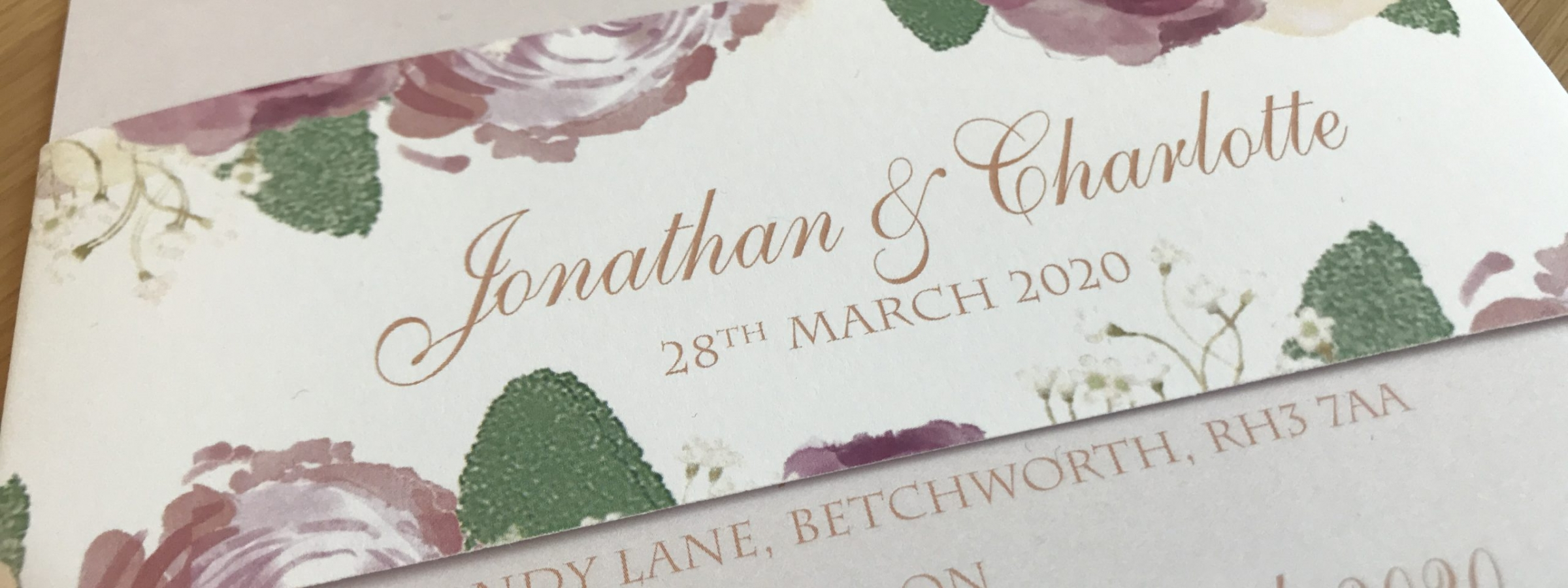 Floral invitation with belly band